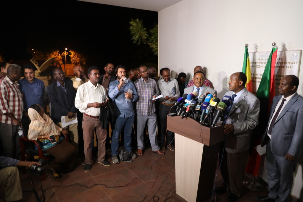 Special envoy of the Ethiopian Prime Minister Ambassador Mahmoud Dreir speaks to the press at the Ethiopian embassy, Khartoum, Sudan Tuesday, June 11,