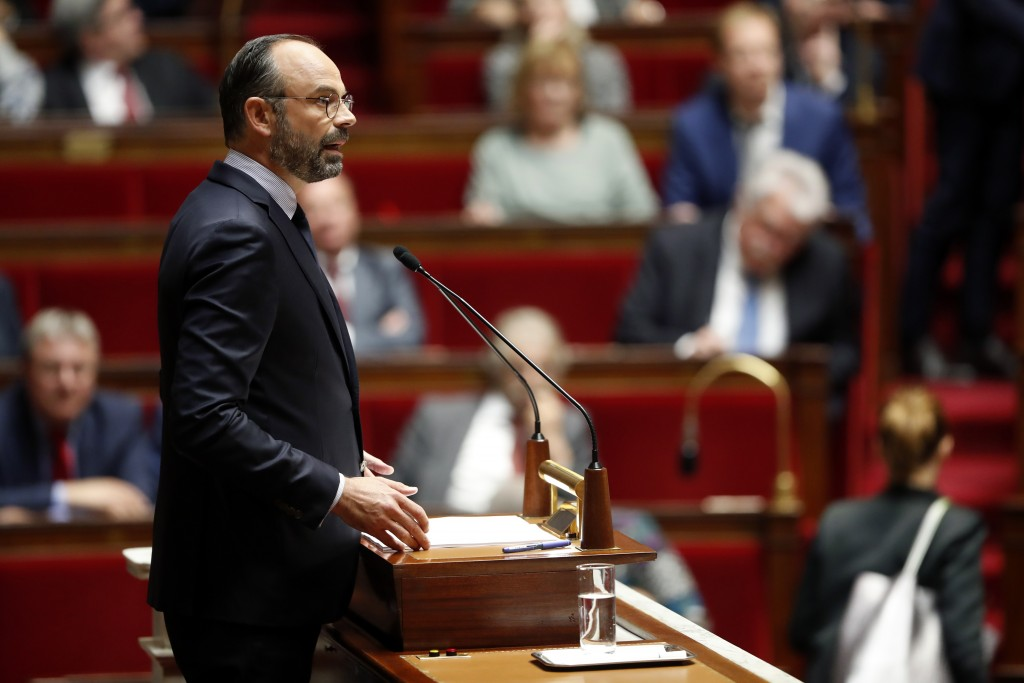 France's Prime Minister Edouard Philippe delivers a speech at the National Assembly, in Paris, Wednesday, June 12, 2019. France's prime minister vowed