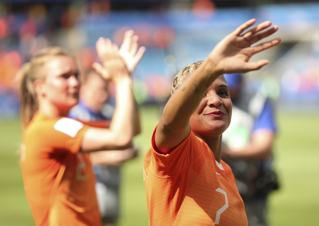 Netherlands' Shanice Van De Sanden acknowledges supporters after the Women's World Cup Group E soccer match between New Zealand and the Netherlands in