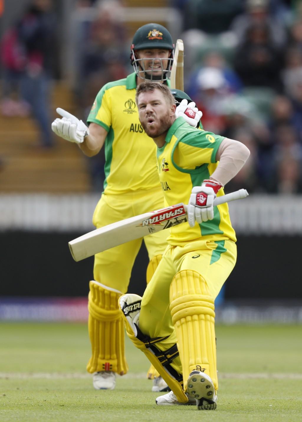 Australia's David Warner, front, celebrates after ...