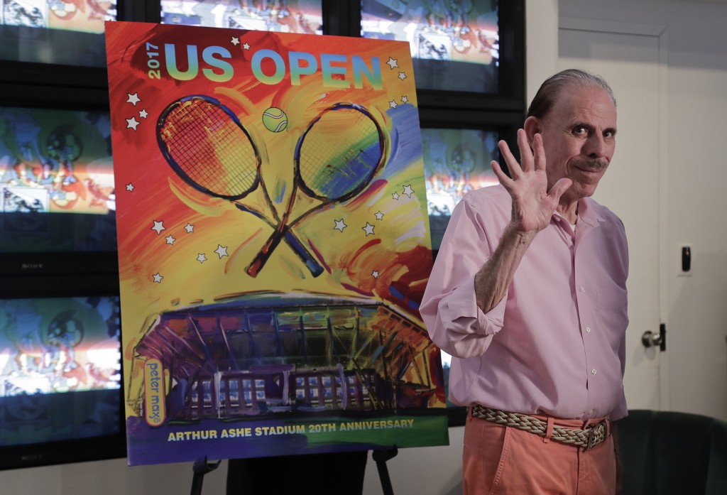 FILE - In this June 14, 2017, file photo, artist Peter Max acknowledges applause during the unveiling of the theme art he created for the 2017 U.S. Op...