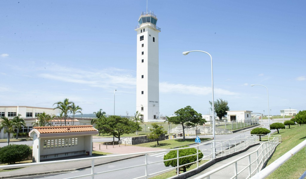 This May 24, 2018 photo made available by the U.S. Air Force shows the air traffic control tower for the Kadena Air Base airfield in Japan. The Defens...