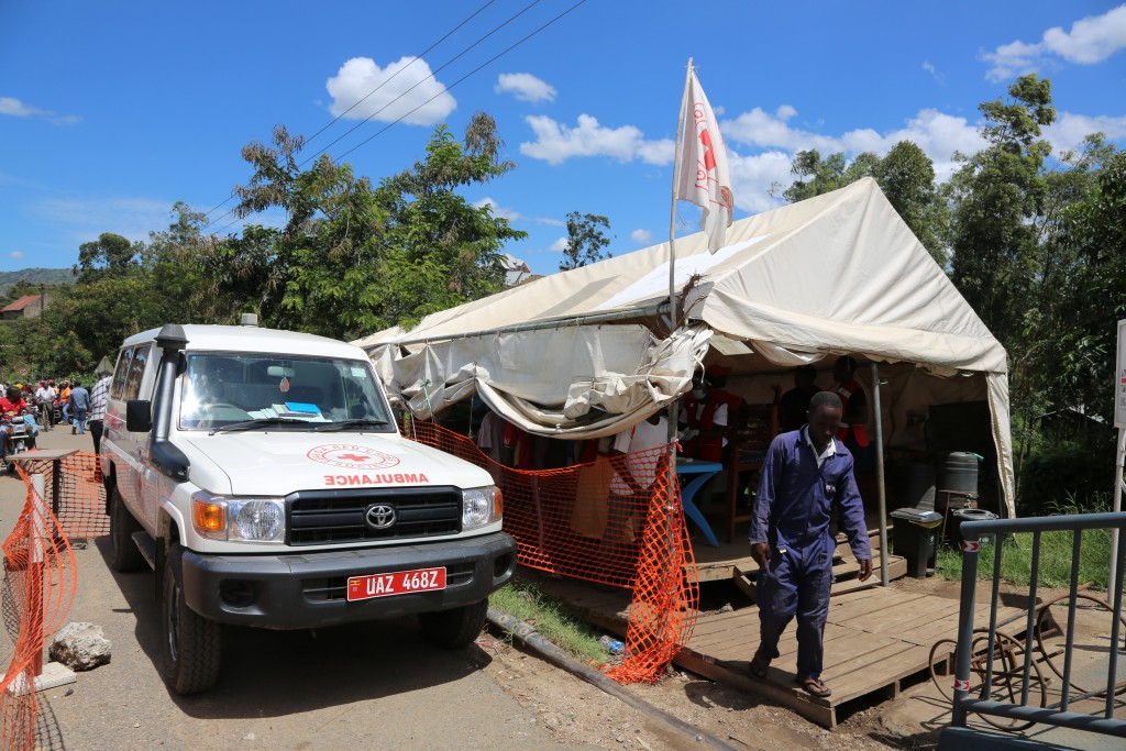 This photo taken Thursday, May 9, 2019 and released by the World Health Organization (WHO), shows an Ebola screening checkpoint for people crossing fr...