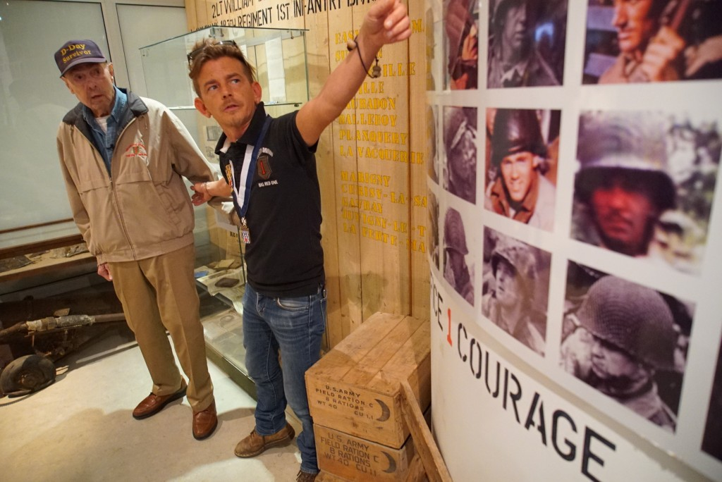 Founder Pierre-Louis Gosselin shows D-Day survivor Ray Lambert around his Big Red One Museum in Collevilile-sur-Mer, France, on Wednesday, June 5, 201