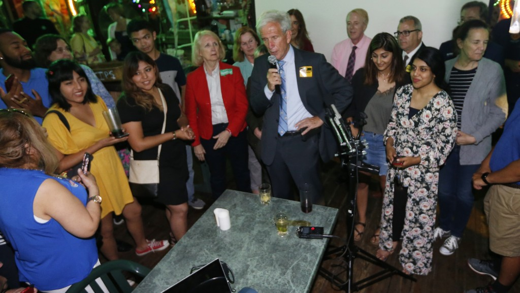 Senate Minority Leader Dick Saslaw, D-Fairfax, speaks to supporters at an election party in Springfield, Va., Tuesday, June 11, 2019. Saslaw won the r