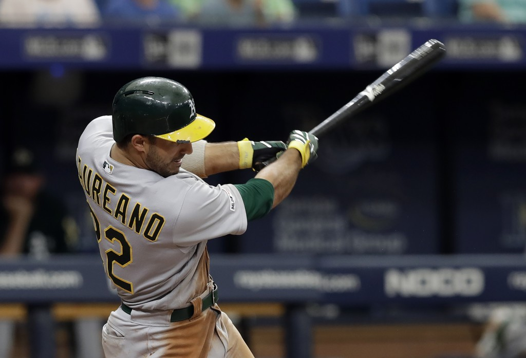 Oakland Athletics' Ramon Laureano connects for a grand slam off Tampa Bay Rays pitcher Colin Poche during the eighth inning of a baseball game Wednesd