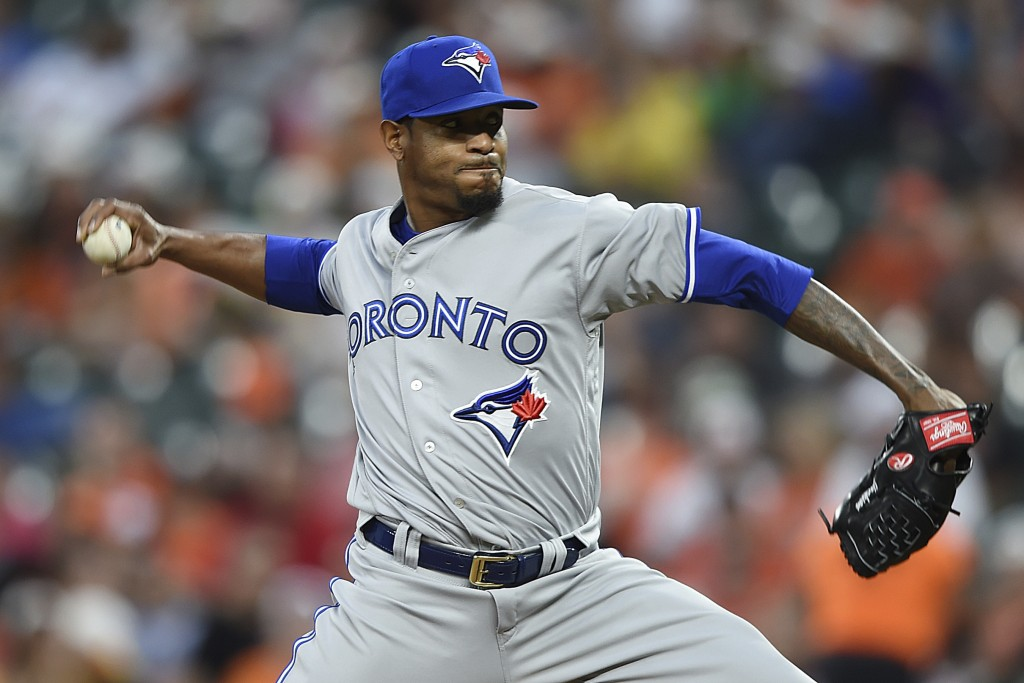 Toronto Blue Jays pitcher Edwin Jackson delivers against the Baltimore Orioles during the third inning of a baseball game Wednesday, June 12, 2019, in...