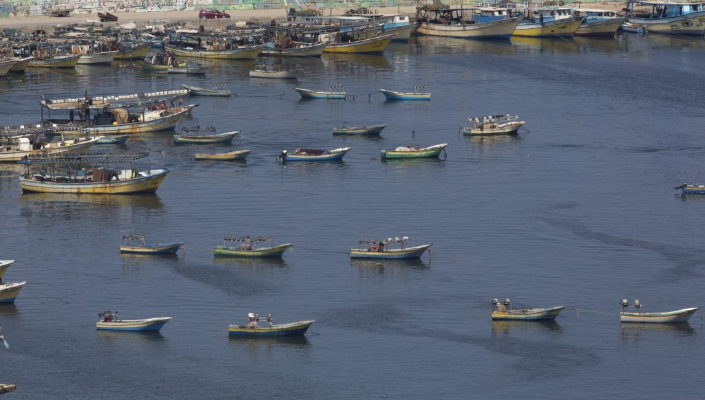 Palestinian fishing boats moored in the Gaza seaport in Gaza City, Thursday, June 13, 2019. The Israeli military took the rare step of closing the Gaz