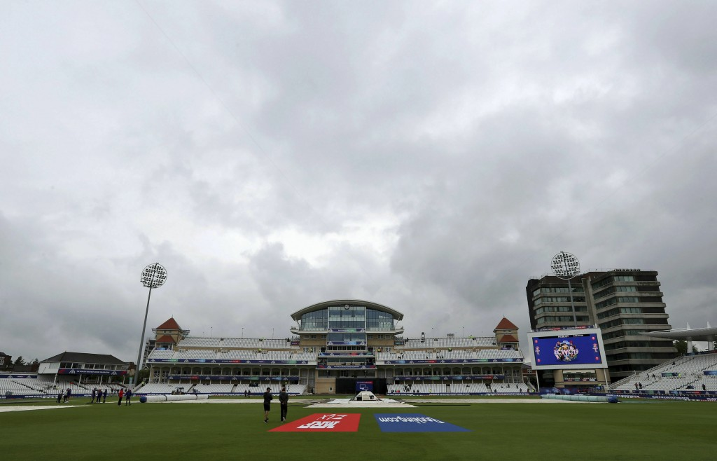 A view of the rain covers on before the Cricket World Cup group stage match between India and New Zealand at Trent Bridge, Nottingham, England, Thursd