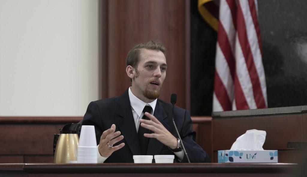 Tyler Jones testifies during the sentencing phase of the trial of his half brother, Tim Jones in Lexington  S.C., Wednesday, June 12, 2019. Timothy Jo