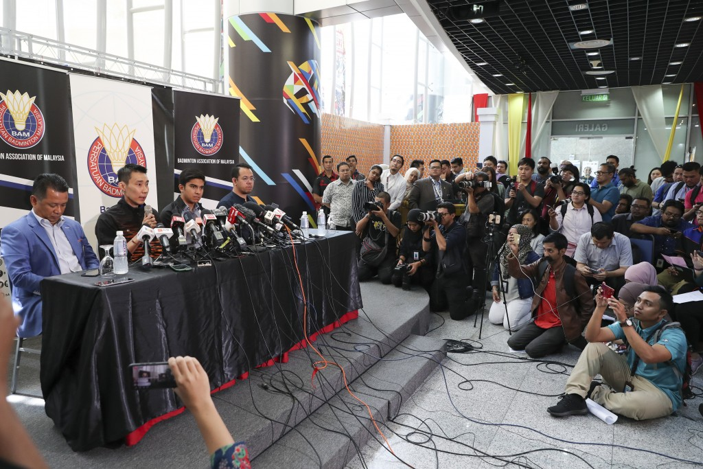 Malaysian badminton player Lee Chong Wei, second from left, speaks during a press conference in Putrajaya, Malaysia, Thursday, June 13, 2019. Former W