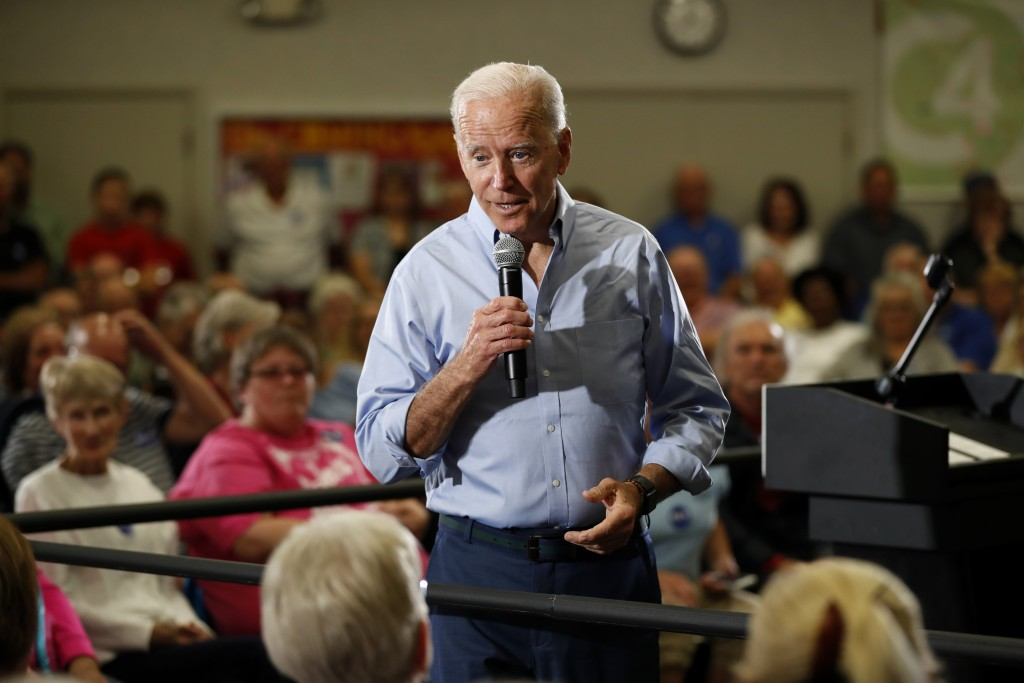 Democratic presidential candidate former Vice President Joe Biden speaks to local residents at Clinton Community College, Wednesday, June 12, 2019, in...