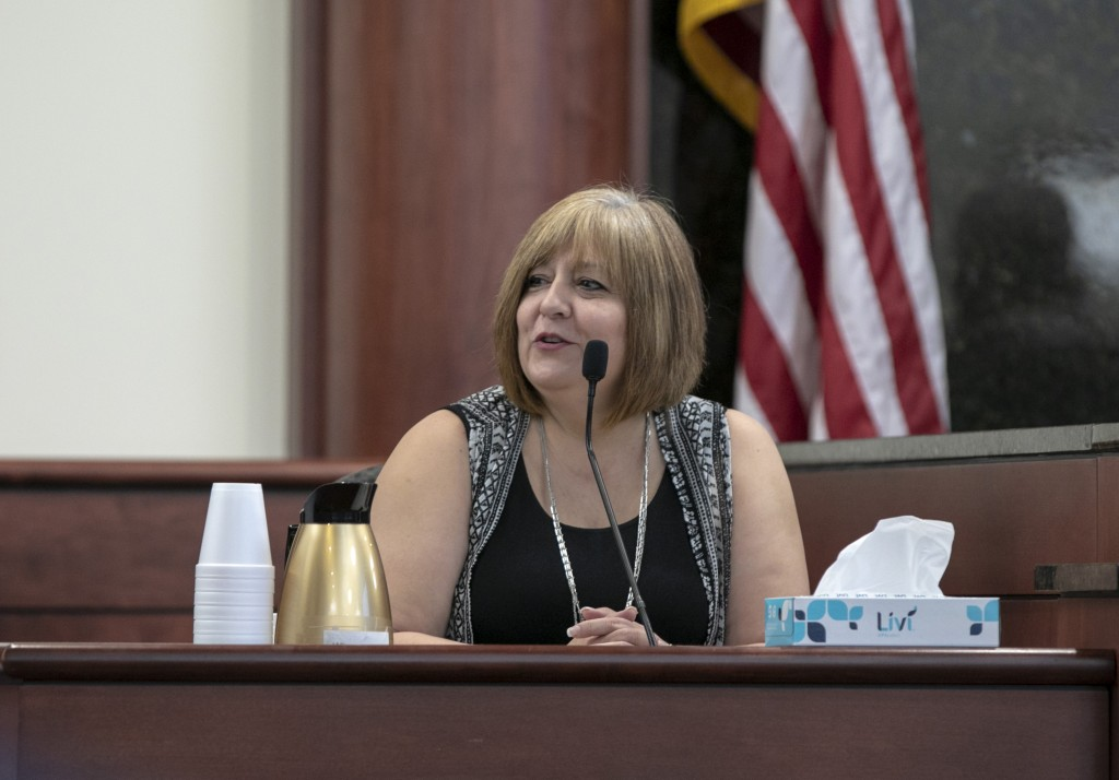 Julie Jones testifies during the sentencing phase of the trial of her step-son, Tim Jones, in Lexington, S.C., Wednesday, June 12, 2019. Timothy Jones