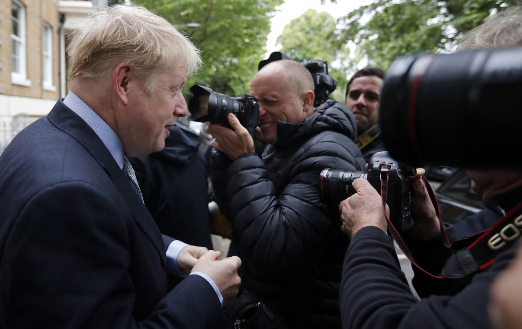 British Conservative Party lawmaker Boris Johnson leaves his home in London, Thursday, June 13, 2019. Britain's Conservative Party is holding an elect...
