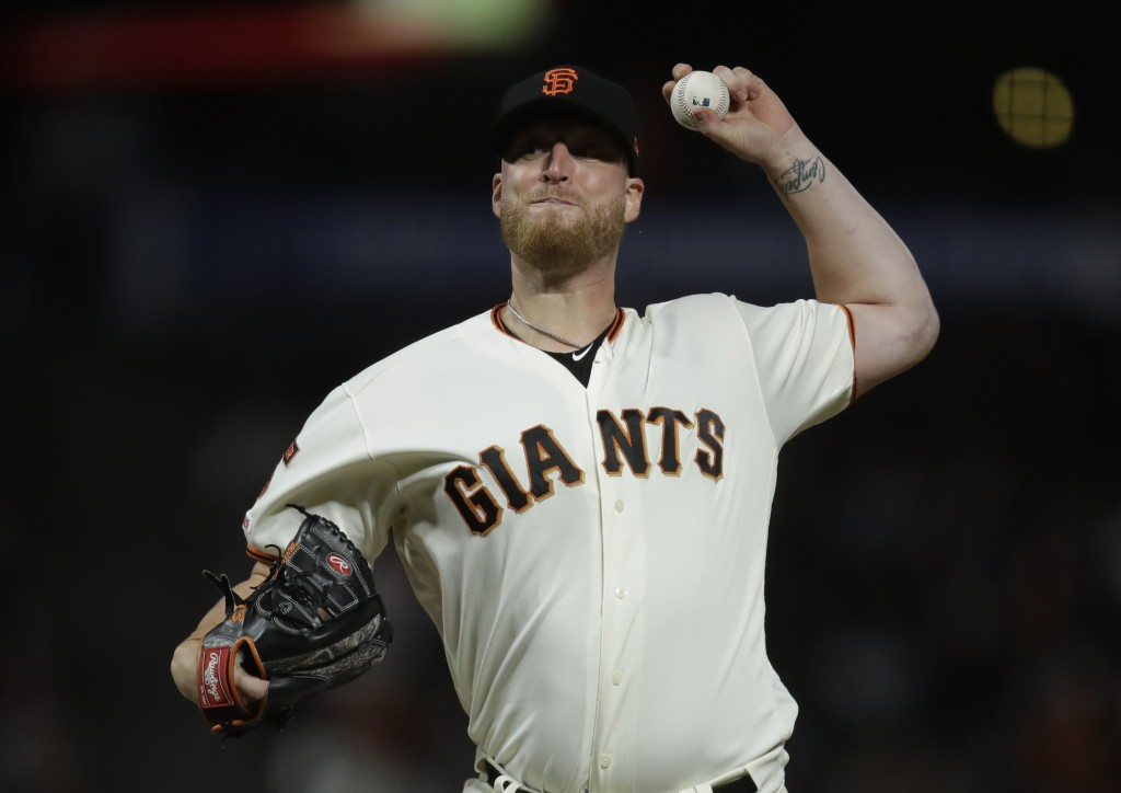 San Francisco Giants pitcher Will Smith works against the San Diego Padres during the ninth inning of a baseball game Wednesday, June 12, 2019, in San