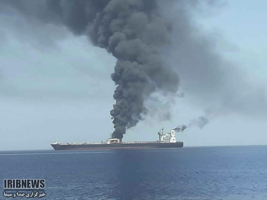 In this photo released by state-run IRIB News Agency, an oil tanker is on fire in the sea of Oman, Thursday, June 13, 2019. Two oil tankers near the s