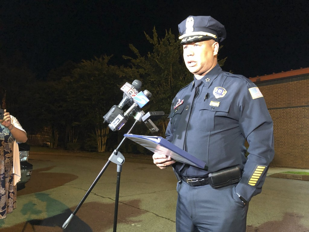 Memphis Police Director Michael Rallings speaks to reporters after a late Wednesday clash with police and an angry crowd early Thursday, June 13, 2019