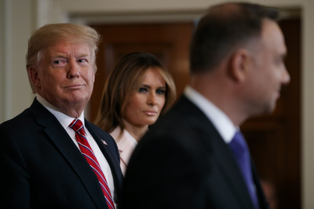 President Donald Trump and first lady Melania Trump attend a Polish-American reception with Polish President Andrzej Duda in the East Room of the Whit