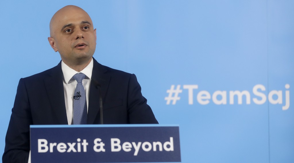 Conservative leadership contender and Britain's Home Secretary Sajid Javid delivers a speech to launch his campaign to become the next Conservative pr