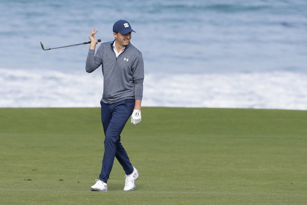 Jordan Spieth walks on the 10th fairway during a practice round for the U.S. Open Championship golf tournament Wednesday, June 12, 2019, in Pebble Bea
