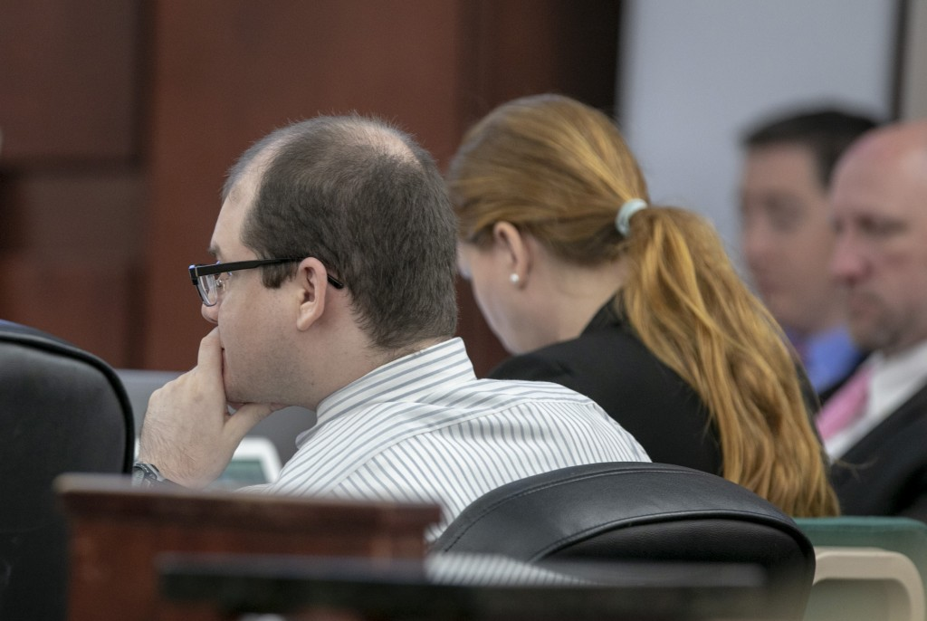 Tim Jones watches as his family members testify Wednesday, June 12, 2019 during the sentencing phase of his trial in Lexington, S.C. Timothy Jones, Jr
