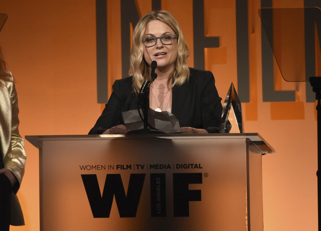 Amy Poehler accepts the entrepreneur in entertainment award at the Women in Film Annual Gala on Wednesday, June 12, 2019, at the Beverly Hilton Hotel ...