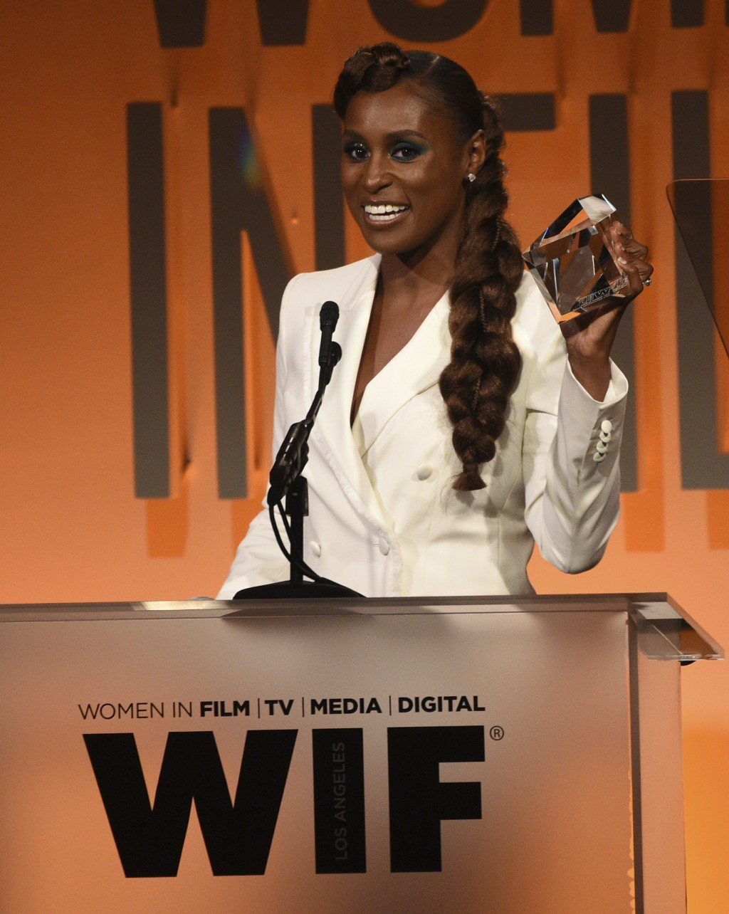 Issa Rae accepts the women in film emerging entrepreneur award at the Women in Film Annual Gala on Wednesday, June 12, 2019, at the Beverly Hilton Hot