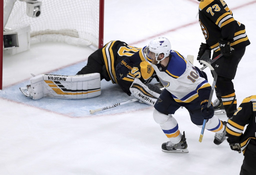 St. Louis Blues' Brayden Schenn (10) celebrates his goal against Boston Bruins goaltender Tuukka Rask, of Finland, during the third period in Game 7 o