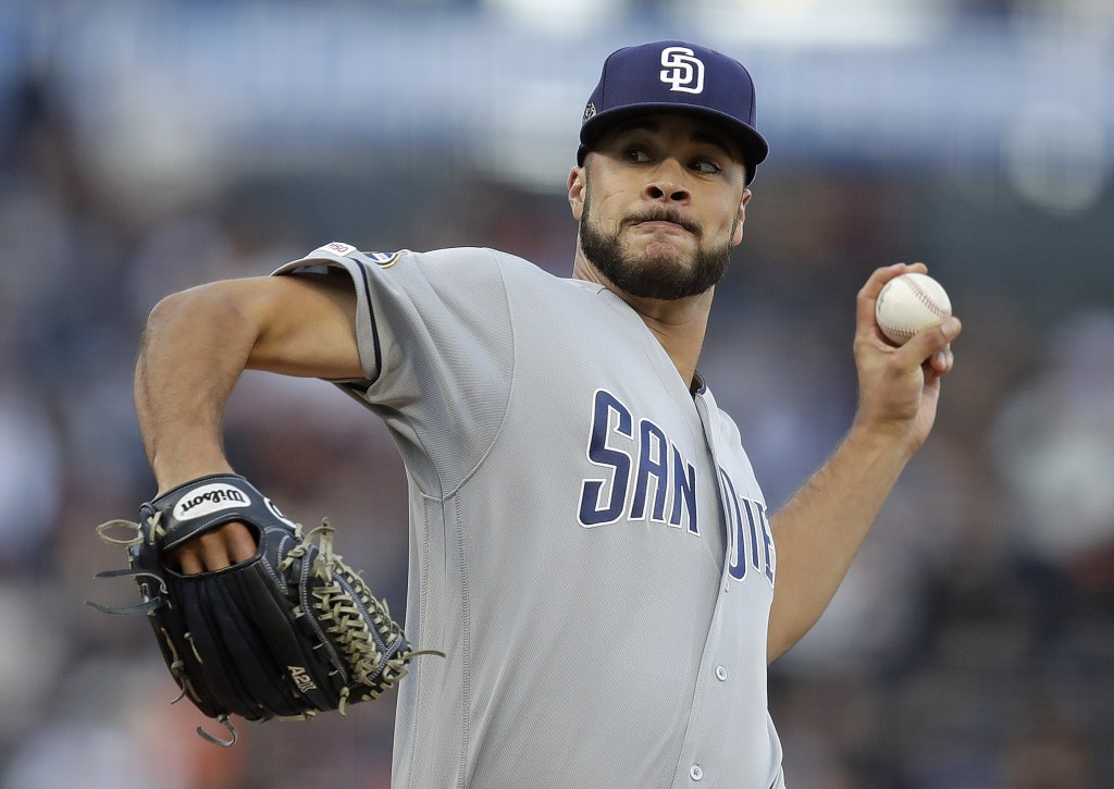 San Diego Padres pitcher Joey Lucchesi works against the San Francisco Giants during the first inning of a baseball game Wednesday, June 12, 2019, in ...