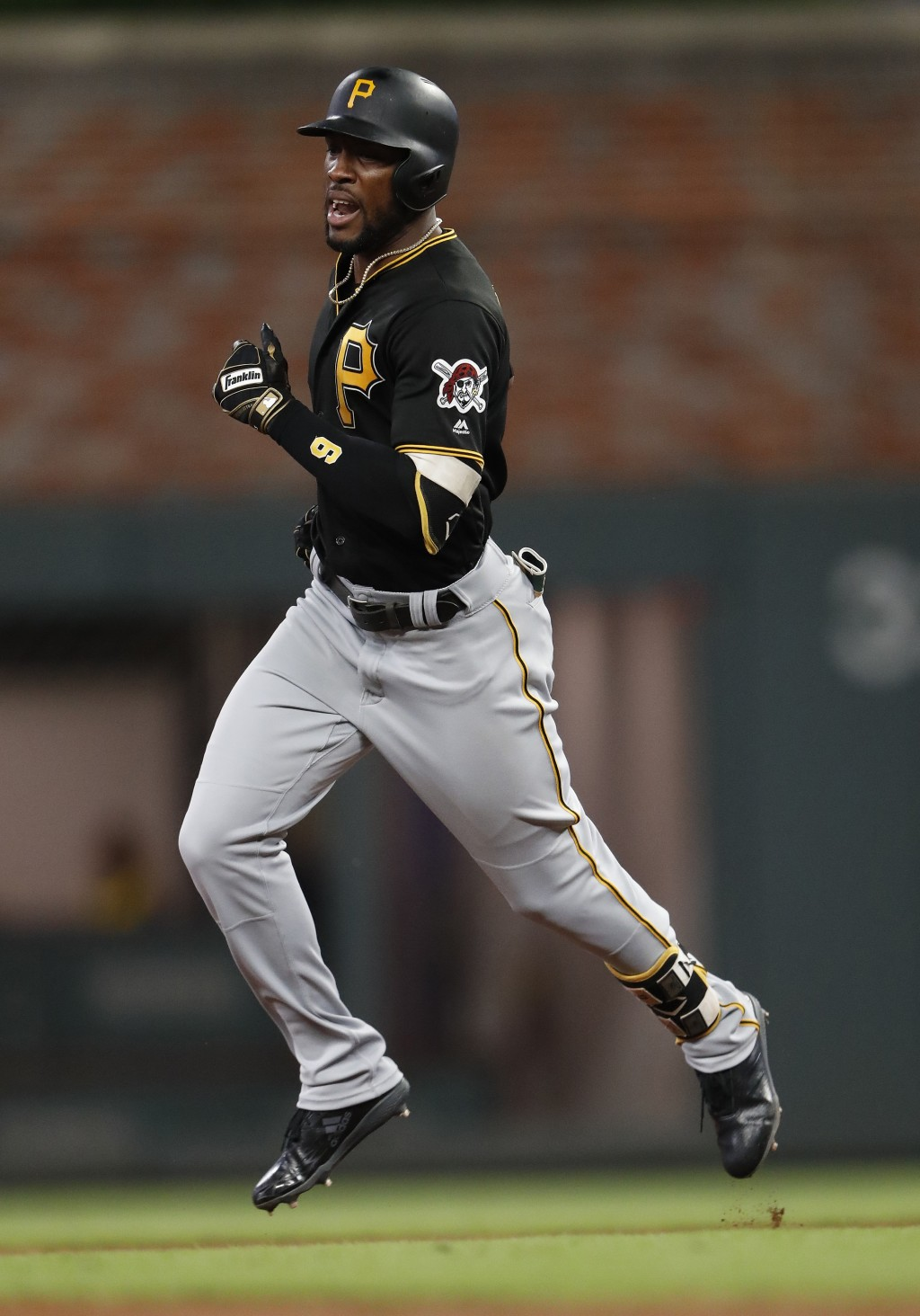 Pittsburgh Pirates' Starling Marte run the bases after hitting a solo home run in the fifth inning of the team's baseball game the Atlanta Braves on W...
