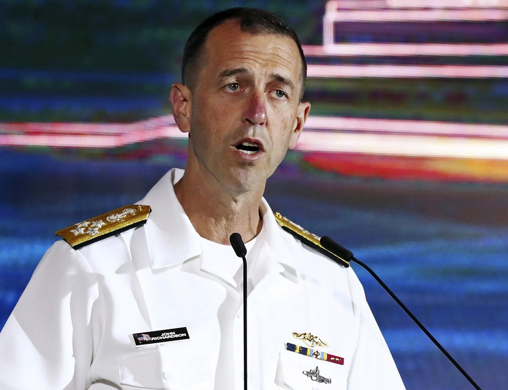 FILE - In this May 5, 2019 file photo, U.S. Chief of Naval Operations Adm. John Richardson delivers a speech during the International Maritime Securit...