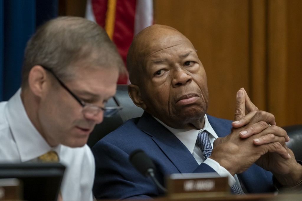 House Oversight and Reform Committee Chairman Elijah E. Cummings, D-Md., listens to an objection by Rep. Jim Jordan, R-Ohio, left, the ranking member,
