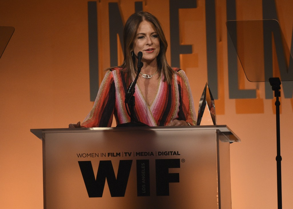 Cathy Schulman accepts the crystal award for advocacy in entertainment at the Women in Film Annual Gala on Wednesday, June 12, 2019, at the Beverly Hi