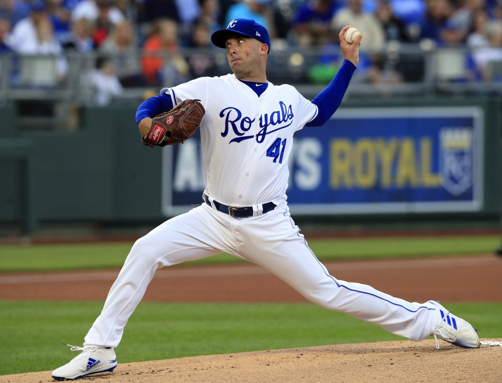 Kansas City Royals starting pitcher Danny Duffy delivers to a Detroit Tigers batter during the first inning of a baseball game at Kauffman Stadium in ...