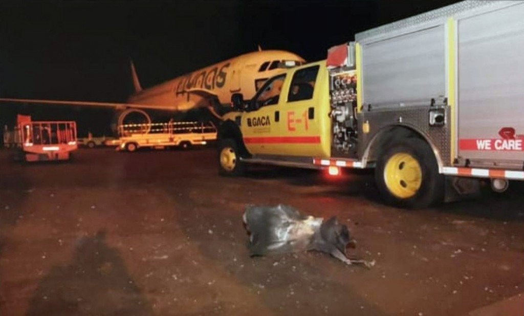 This photograph released by the state-run Saudi Press Agency shows debris on the tarmac of Abha Regional Airport after an attack by Yemen's Houthi reb