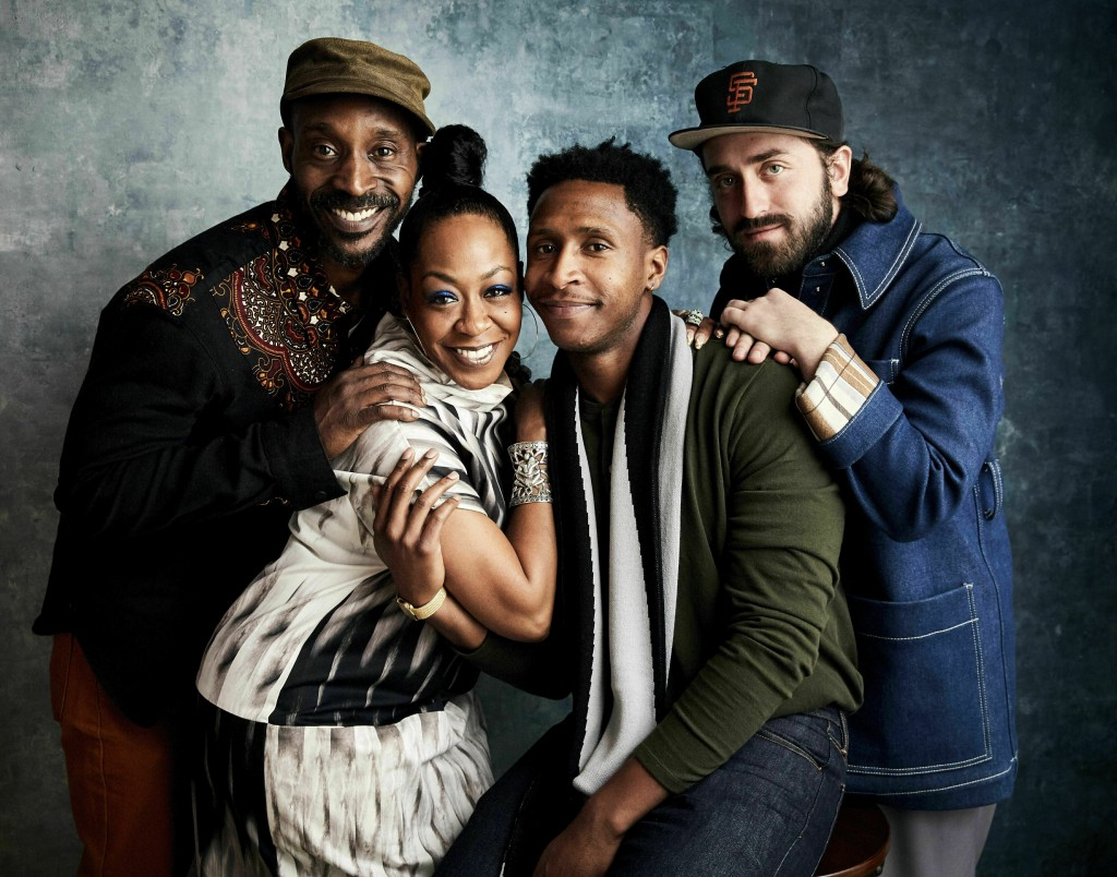 FILE - In this Sunday, Jan. 27, 2019, file photo, Rob Morgan, from left, Tichina Arnold, writer Jimmie Fails and director Joe Talbot pose for a portra