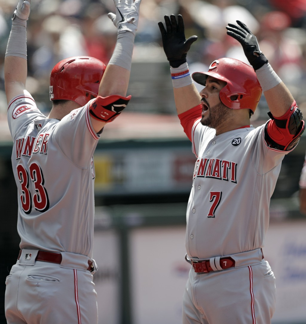 Cincinnati Reds' Eugenio Suarez, right, and Jesse Winker celebrate after Suarez hit a solo home run in the sixth inning in a baseball game against the
