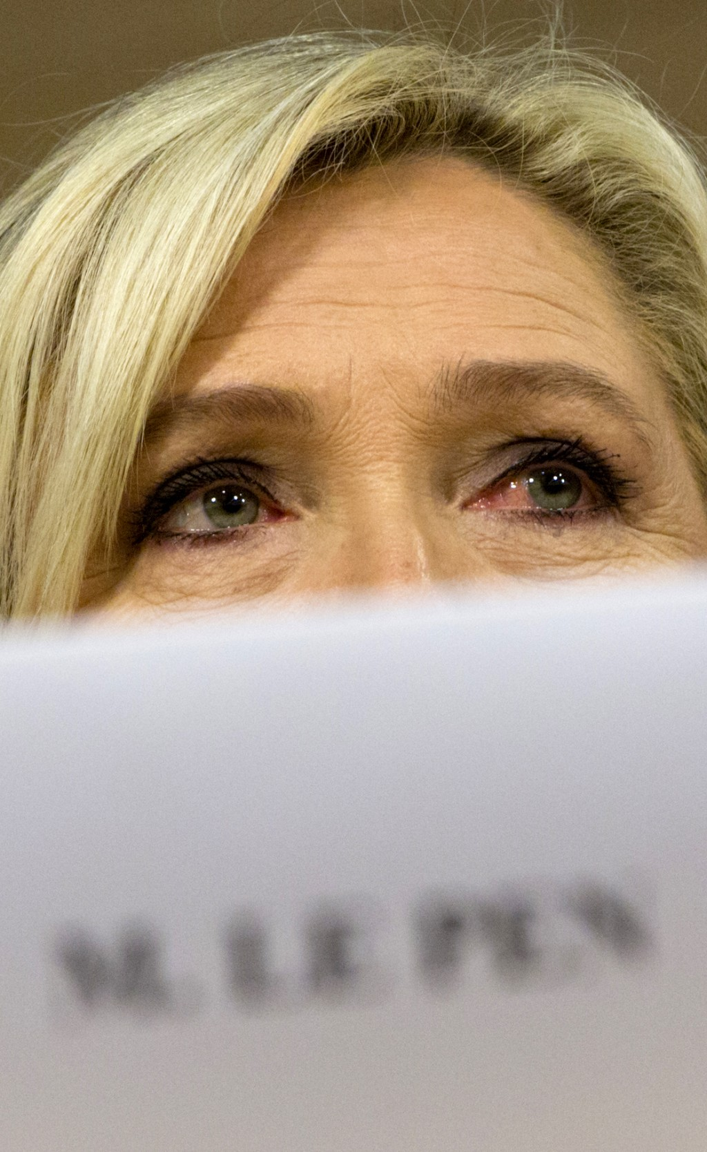 French far-right National Rally leader and MEP Marine Le Pen attends a media conference to announce the formation of a new far-right European Parliame