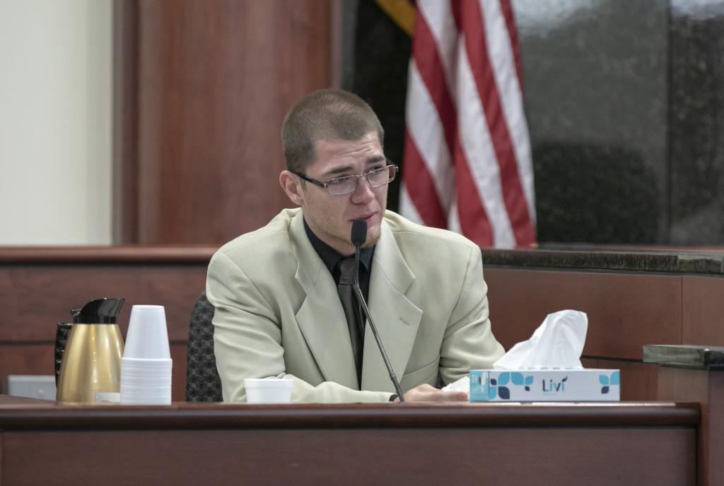 Travis Jones testifies during the sentencing phase of the trial of his half brother, Tim Jones in Lexington, S.C., Wednesday, June 12, 2019 in Lexingt