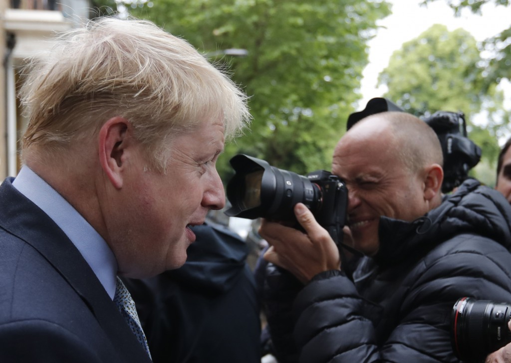 British Conservative Party lawmaker Boris Johnson leaves his home in London, Thursday, June 13, 2019. Boris Johnson, who ran London as mayor for eight