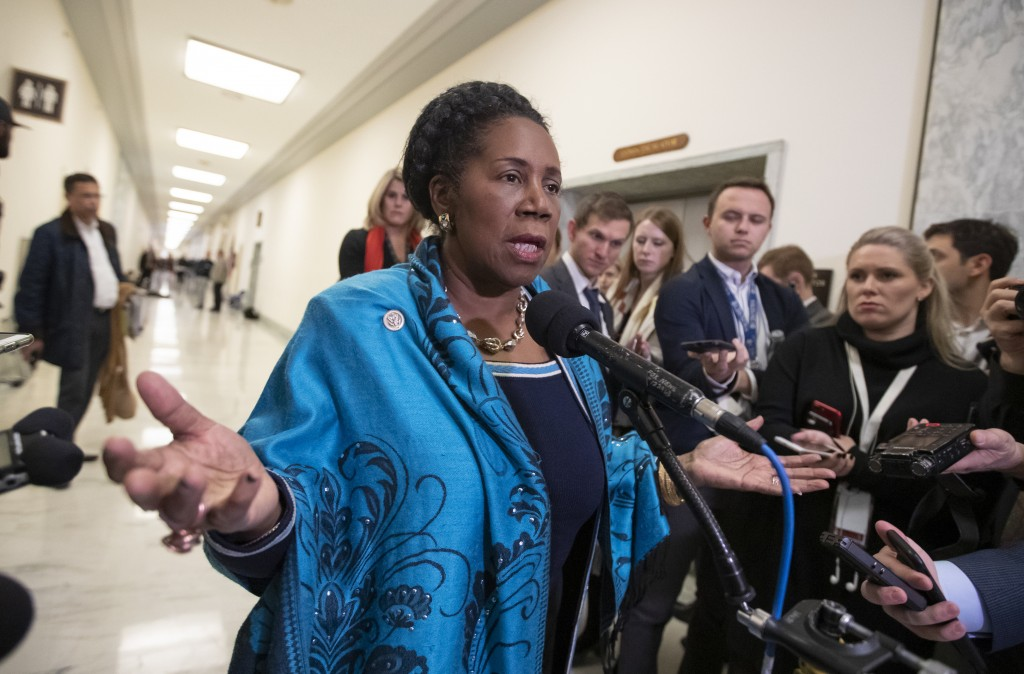 FILE - In this Dec. 7, 2018, file photo, U.S. Rep. Sheila Jackson Lee, D-Texas, speaks to reporters on Capitol Hill in Washington. The topic of repara...