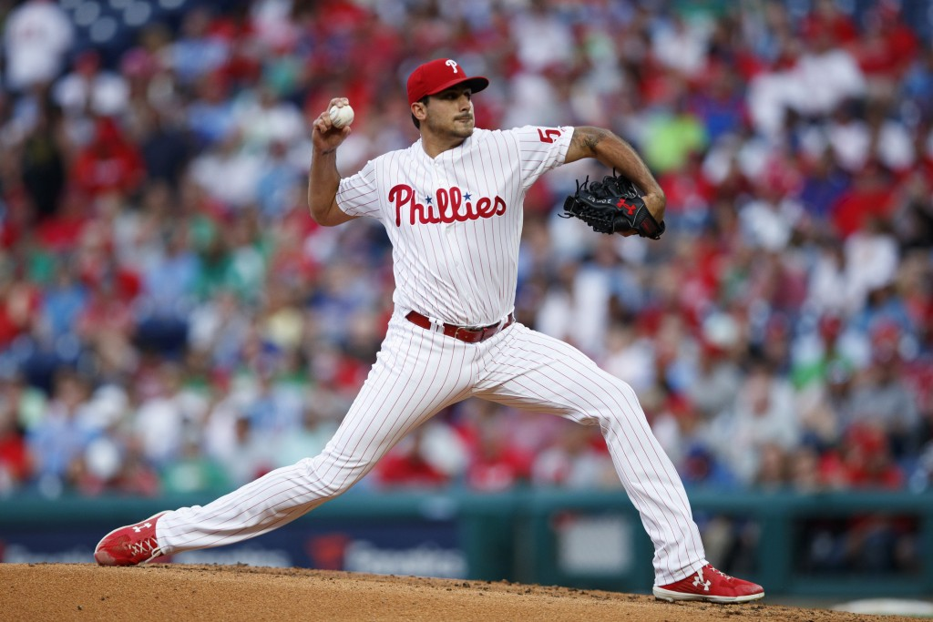 Philadelphia Phillies' Zach Eflin pitches during the third inning of the team's baseball game against the Arizona Diamondbacks, Wednesday, June 12, 20...