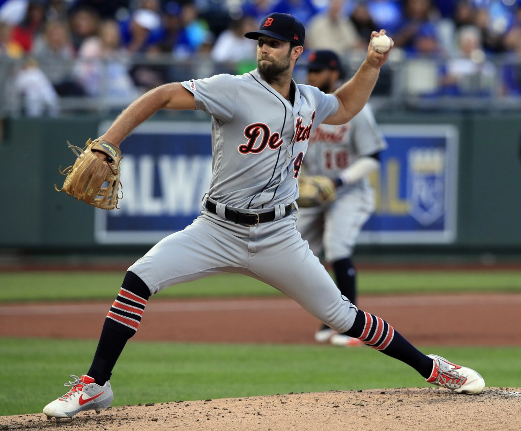 Detroit Tigers starting pitcher Daniel Norris delivers to a Kansas City Royals batter during the first inning of a baseball game at Kauffman Stadium i