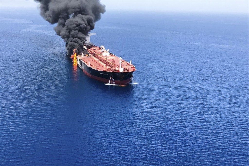 An oil tanker is on fire in the sea of Oman, Thursday, June 13, 2019. Two oil tankers near the strategic Strait of Hormuz were reportedly attacked on