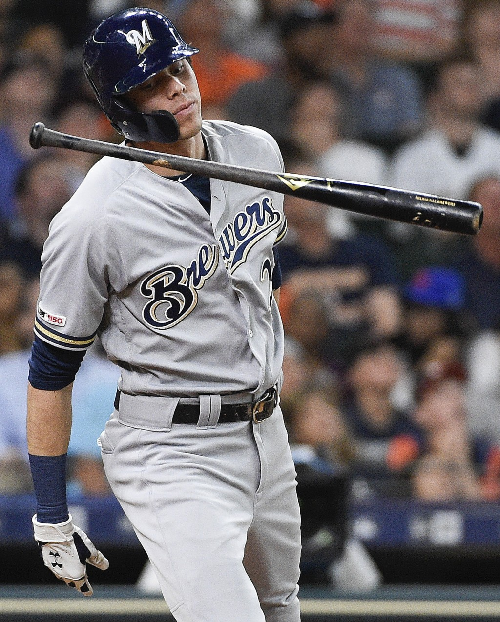 Milwaukee Brewers' Christian Yelich reacts after f...