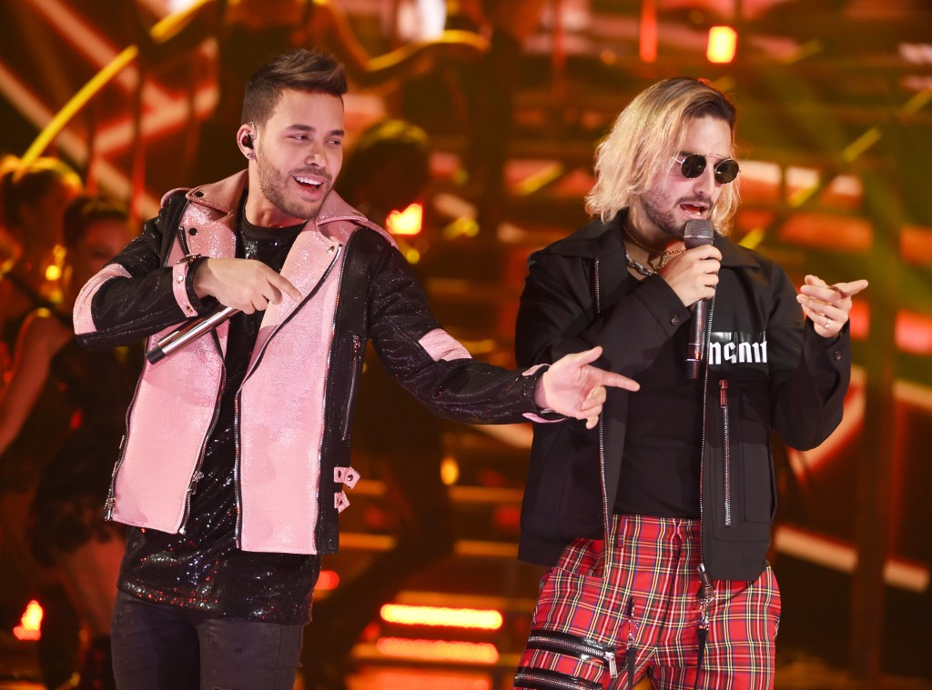 """FILE - In this Oct. 25, 2018, file photo, Prince Royce, left, and Maluma perform """"El Clavo"""" at the Latin American Music Awards at the Dolby Theatre in"""