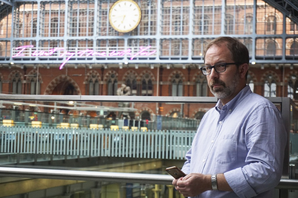 Russia expert Keir Giles poses for a portrait during an interview at London's St. Pancras Station on Tuesday, June 4, 2019. Giles, who is affiliated w...