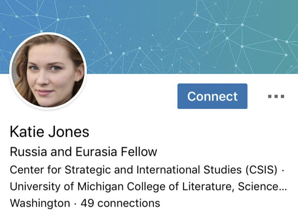 This image captured on Tuesday, June 11, 2019 shows part of a LinkedIn profile for someone who identified themselves as Katie Jones. The Associated Pr