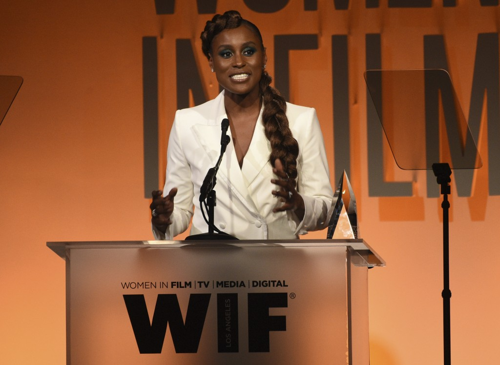 Issa Rae accepts the women in film emerging entrepreneur award at the Women in Film Annual Gala on Wednesday, June 12, 2019, at the Beverly Hilton Hot...