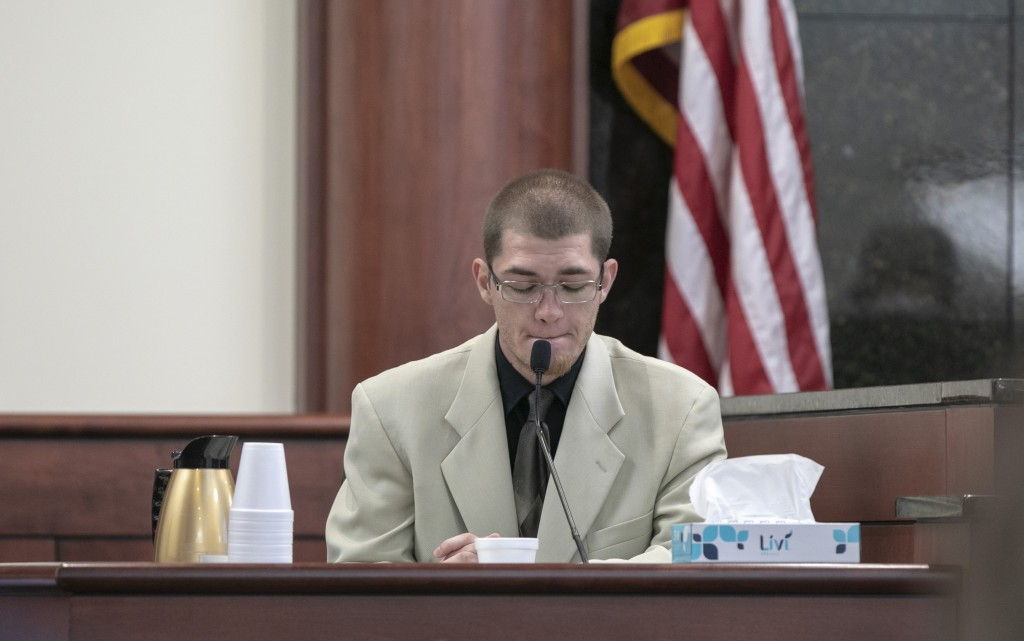 Travis Jones testifies during the sentencing phase of the trial of his half brother, Tim Jones in Lexington, S.C., Wednesday, June 12, 2019. Timothy J